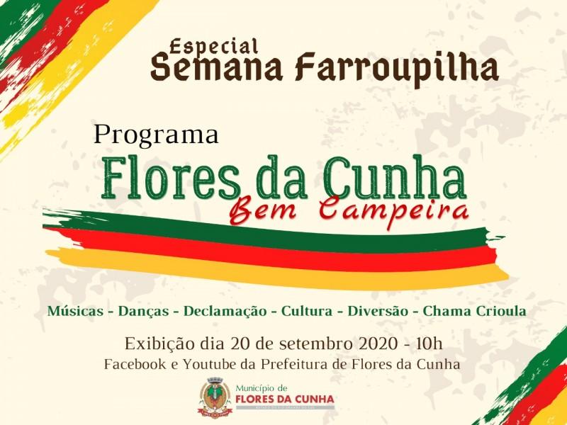 """Foto de capa Especial """"Flores da Cunha Bem Campeira"""" será apresentado no domingo, dia 20, nas redes sociais do município"""