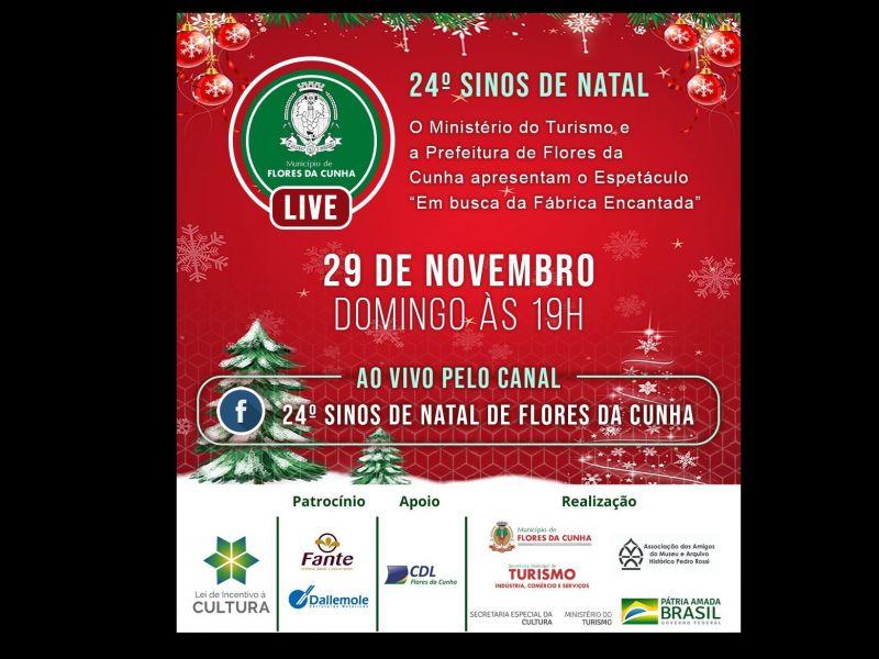 Foto 24º Sinos de Natal terá abertura com show online neste domingo, dia 29, em Flores da Cunha