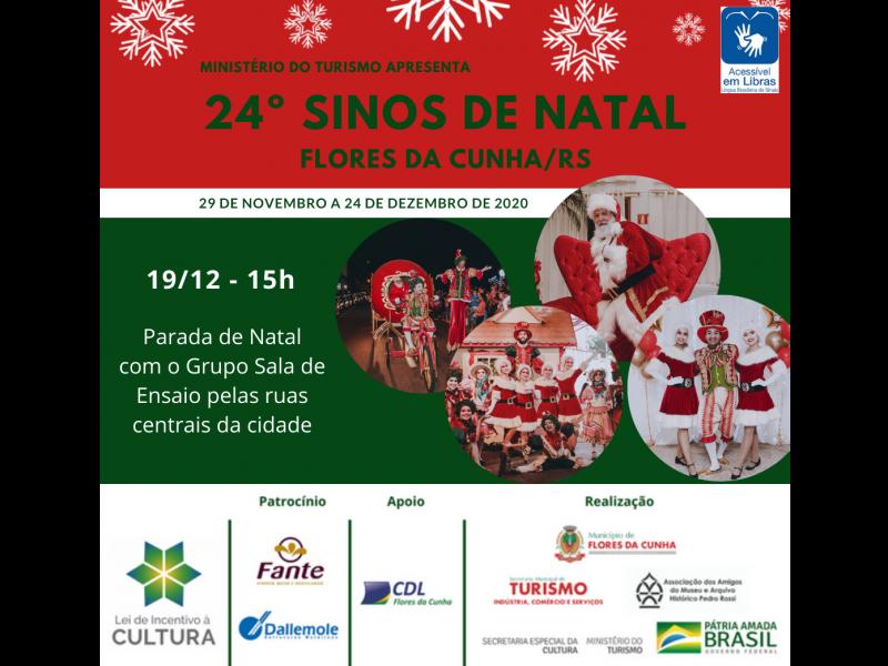 Foto Parada de Natal e apresentação do Tenor Giovanni Marquezeli ocorrem neste sábado, dia 19, em Flores da Cunha