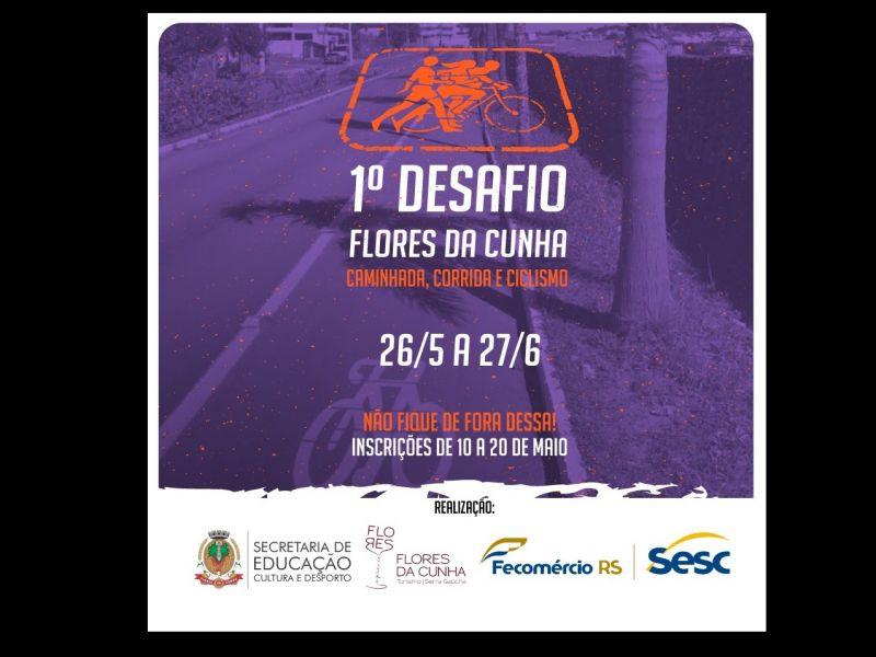 Foto Inscrições abertas para o 1º Desafio Flores da Cunha de Caminhada, Corrida e Ciclismo