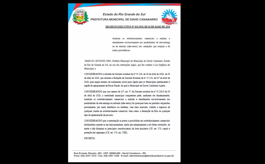 Foto de capa da notícia Decreto Municípal 025/2020