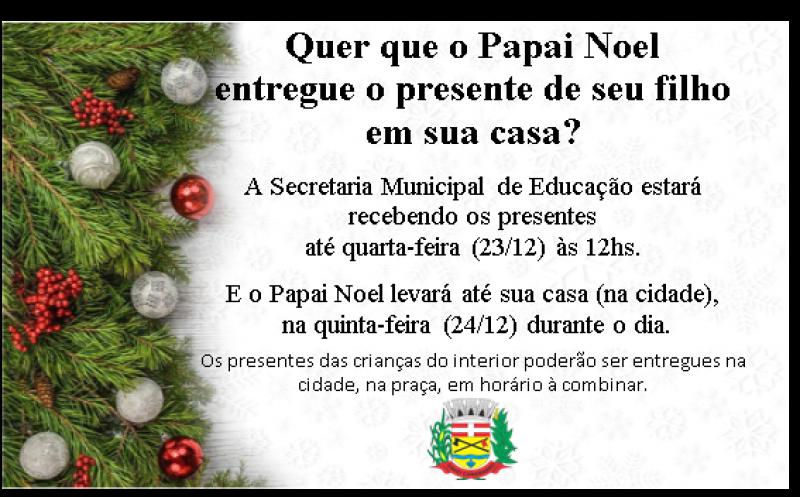 Foto de capa da notícia Quer que o Papai Noel entregue o presente do seu filho em sua casa?