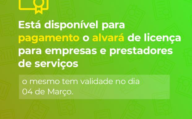 Foto de capa da notícia: Alvará de Licenciamento para empresas e autônomos está disponível para pagamento.
