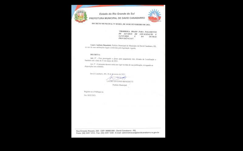 Foto de capa da notícia Decreto Municipal nº 05/2021