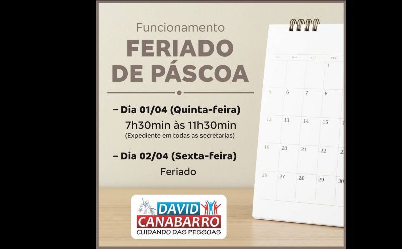 Foto de capa da notícia HORÁRIO ESPECIAL DE PÁSCOA!