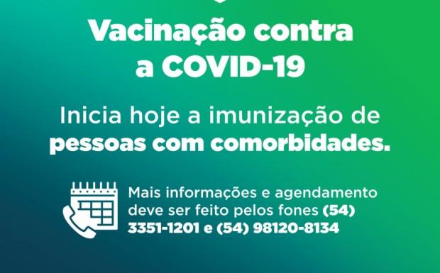 Foto de capa da notícia: INICIA NESTA SEXTA-FEIRA A VACINAÇÃO CONTRA A COVID-19 DE PESSOAS COM COMORBIDADES