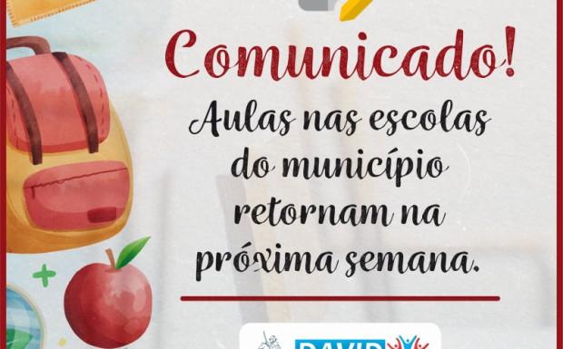 Foto de capa da notícia: DEFINIDO O CRONOGRAMA DE RETORNO DAS AULAS PRESENCIAIS EM ESCOLAS DO MUNICÍPIO