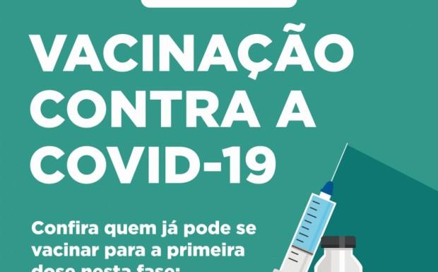 Foto de capa da notícia: NOVOS GRUPOS JÁ PODEM RECEBER A PRIMEIRA DOSE CONTRA A COVID-19