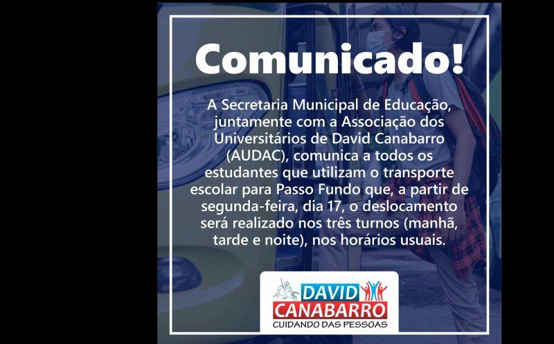Foto de capa da notícia: COMUNICADO TRANSPORTE UNIVERSITÁRIO