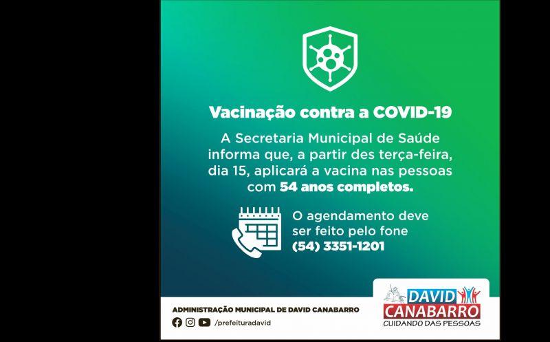 Foto de capa da notícia: VACINAÇÃO DE CANABARRENSES COM 54 ANOS COMPLETOS!