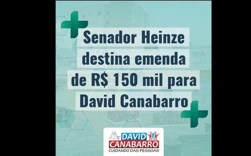 Foto de capa da notícia SENADOR HEINZE DESTINA R$ 150 MIL PARA DAVID CANABARRO