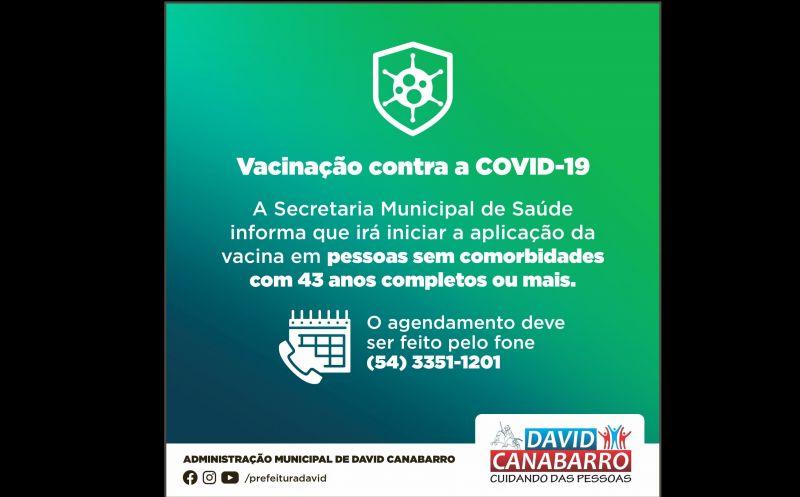 Foto de capa da notícia PESSOAS SEM COMORBIDADES COM 43 ANOS COMPLETOS OU MAIS JÁ PODEM AGENDAR VACINAÇÃO