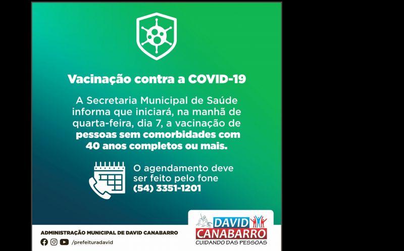 Foto de capa da notícia VACINAÇÃO CONTRA A COVID-19 DE CANABARRENSES SEM COMORBIDADES COM 40 ANOS COMPLETOS OU MAIS INICIARÁ NA QUARTA-FEIRA