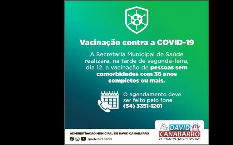 Foto de capa da notícia CANABARRENSES COM 36 ANOS OU MAIS JÁ PODEM FAZER O AGENDAMENTO PARA VACINAÇÃO CONTRA A COVID-19