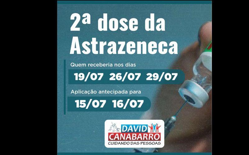 Foto de capa da notícia: ANTECIPADA SEGUNDA DOSE DA ASTRAZENECA