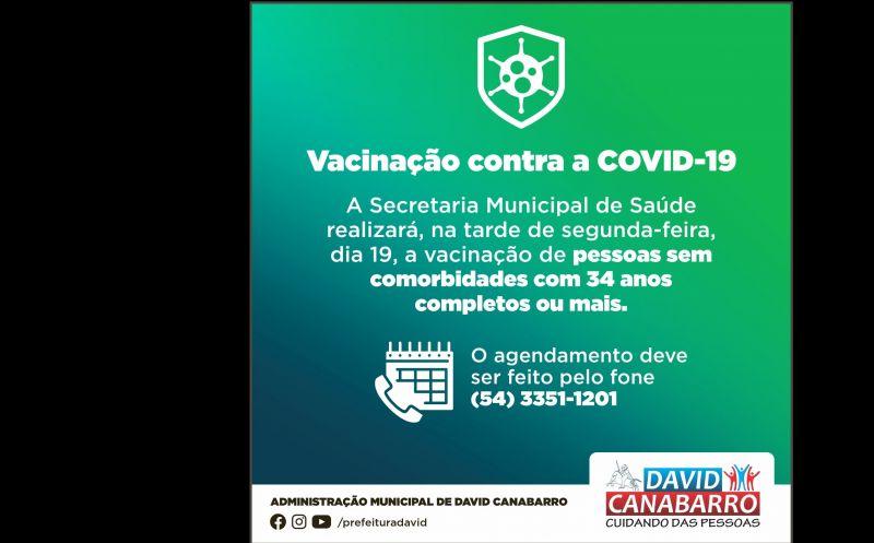 Foto de capa da notícia: ATENÇÃO! CANABARRENSES COM 34 ANOS OU MAIS JÁ PODEM FAZER O AGENDAMENTO PARA VACINAÇÃO CONTRA A COVID-19