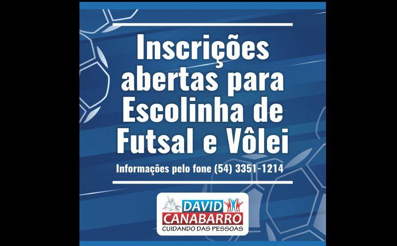 Foto de capa da notícia: INSCRIÇÕES ABERTAS PARA ESCOLINHA DE FUTSAL E VÔLEI