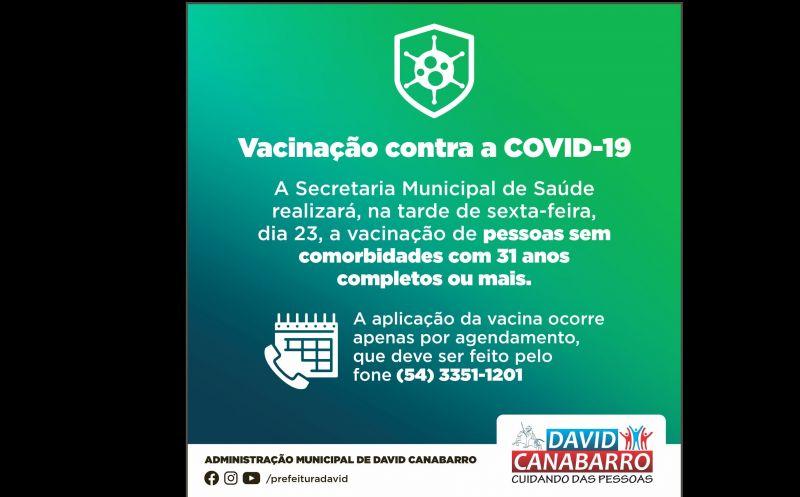 Foto de capa da notícia: CANABARRENSES COM 31 ANOS OU MAIS JÁ PODEM FAZER O AGENDAMENTO PARA VACINAÇÃO CONTRA A COVID-19