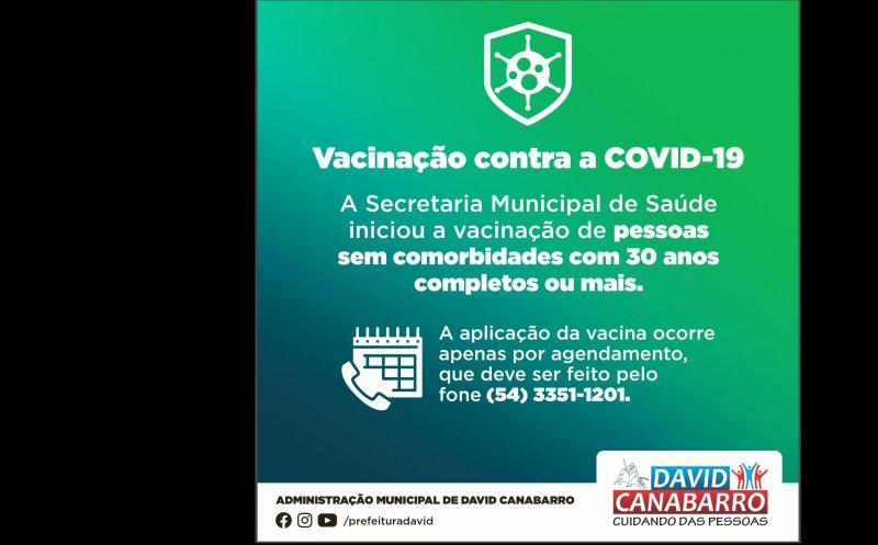 Foto de capa da notícia INICIA A VACINAÇÃO CONTRA A COVID-19 DE CANABARRENSES COM 30 ANOS OU MAIS