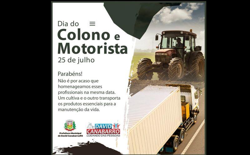 Foto de capa da notícia 25 DE JULHO | DIA DO COLONO E MOTORISTA
