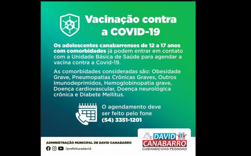 Foto de capa da notícia ADOLESCENTES DE 12 A 17 ANOS COM COMORBIDADES PODEM AGENDAR A VACINA CONTRA A COVID