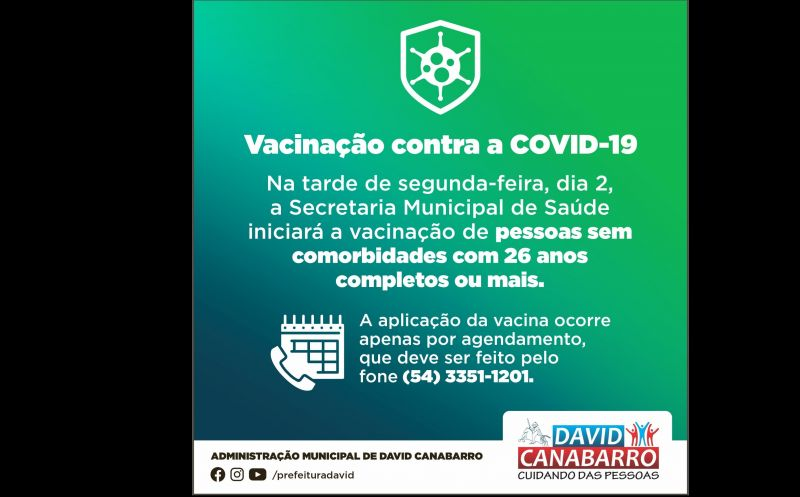 Foto de capa da notícia CANABARRENSES SEM COMORBIDADES COM 26 ANOS OU MAIS JÁ PODEM AGENDAR VACINAÇÃO CONTRA A COVID-19