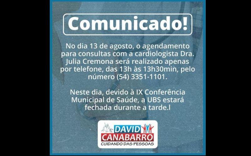Foto de capa da notícia COMUNICADO AGENDAMENTO COM CARDIOLOGISTA