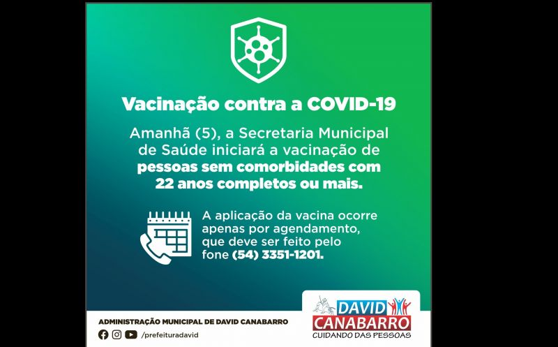 Foto de capa da notícia CANABARRENSES COM 22 ANOS COMPLETOS OU MAIS JÁ PODEM AGENDAR VACINAÇÃO CONTRA A COVID