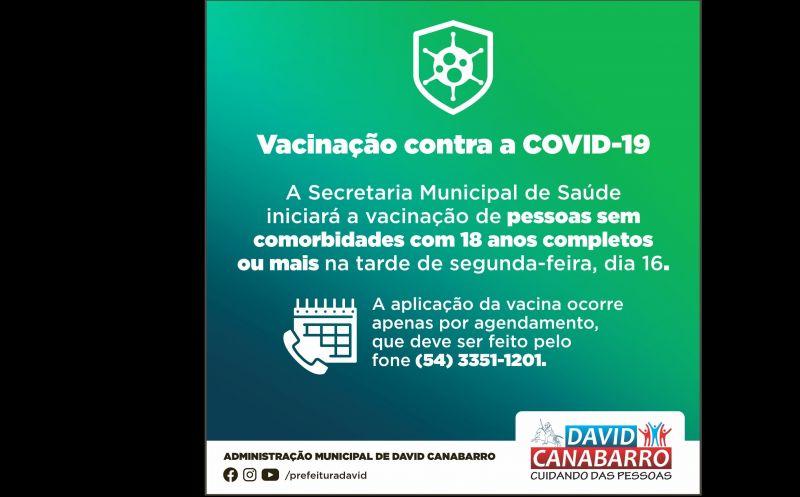 Foto de capa da notícia JOVENS SEM COMORBIDADES COM 18 ANOS OU MAIS JÁ PODEM AGENDAR VACINAÇÃO CONTRA A COVID-19