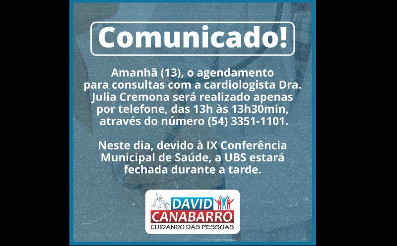 Foto de capa da notícia COMUNICADO AGENDAMENTO PARA CONSULTAS COM A CARDIOLOGISTA