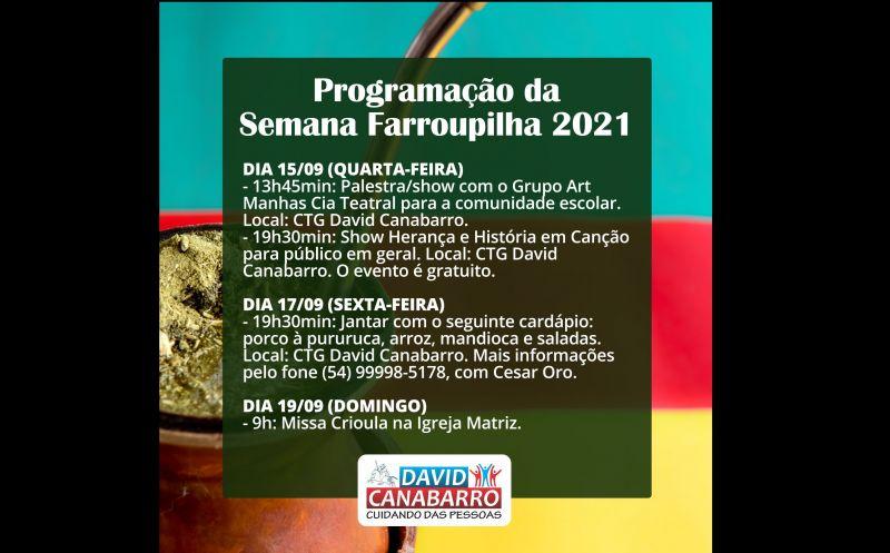 Foto de capa da notícia: INICIOU A PROGRAMAÇÃO DA SEMANA FARROUPILHA NO MUNICÍPIO