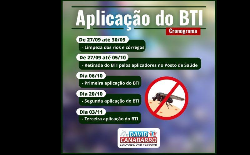 Foto de capa da notícia: DEFINIDO CRONOGRAMA DE APLICAÇÃO DO BTI NO MUNICÍPIO