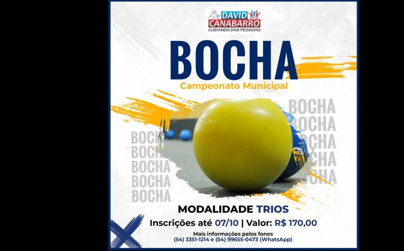 Foto de capa da notícia INSCRIÇÕES ABERTAS PARA O CAMPEONATO MUNICIPAL DE BOCHA