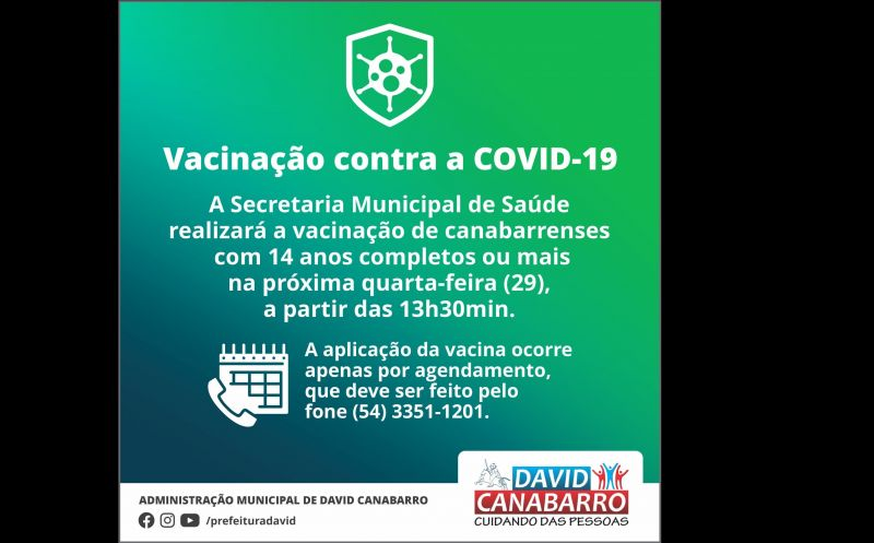 Foto de capa da notícia SECRETARIA DE SAÚDE INICIARÁ VACINAÇÃO DE ADOLESCENTES COM 14 ANOS OUU MAIS