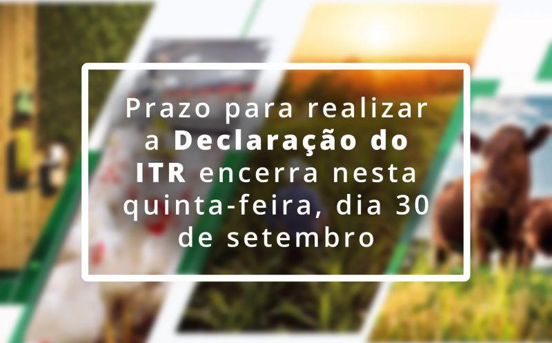 Foto de capa da notícia PRAZO PARA ENTREGA DE DECLARAÇÃO DO ITR ENCERRA NA QUINTA-FEIRA