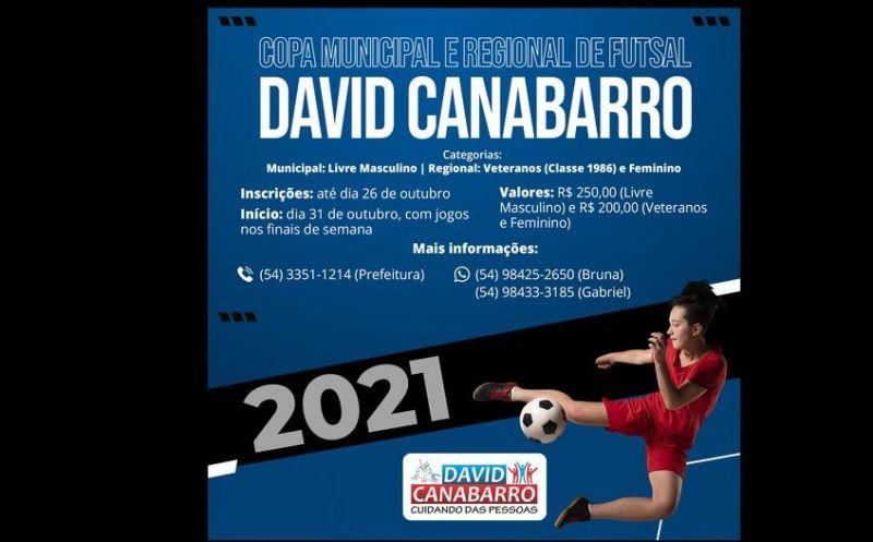 Foto de capa da notícia INSCRIÇÕES ABERTAS PARA A COPA MUNICIPAL E REGIONAL DE FUTSAL DE DAVID CANABARRO