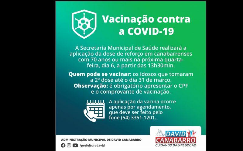 Foto de capa da notícia DOSE DE REFORÇO CONTRA A COVID-19 SERÁ APLICADA NA QUARTA-FEIRA