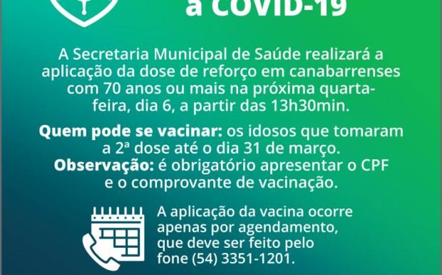 Foto de capa da notícia: DOSE DE REFORÇO CONTRA A COVID-19 SERÁ APLICADA NA QUARTA-FEIRA