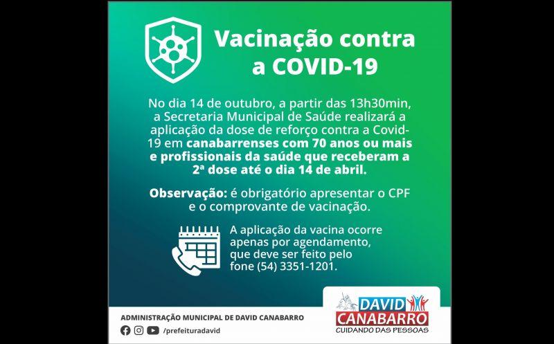 Foto de capa da notícia: IDOSOS COM 70 ANOS OU MAIS E PROFISSIONAIS DE SAÚDE PODEM AGENDAR DOSE DE REFORÇO CONTRA A COVID-19