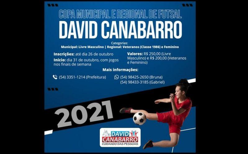 Foto de capa da notícia: REGULAMENTO E FICHA DE INSCRIÇÃO DO CAMPEONATO MUNICIPAL E REGIONAL DE FUTSAL DE DAVID CANABARRO