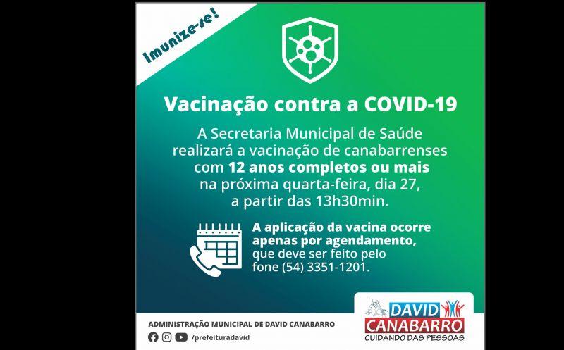 Foto da Notícia SECRETARIA DE SAÚDE VACINARÁ CANABARRENSES COM 12 ANOS OU MAIS NO DIA 27