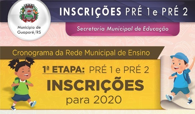 Foto de capa da notícia: Secretaria de Educação abre inscrições para Pré 1 e Pré 2 na Rede Municipal de Ensino.