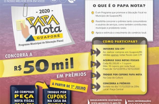 Foto de capa da notícia: Educação Fiscal: Poder Público lança o programa Papa Notas 2020