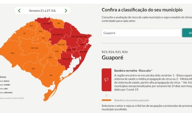 Foto de capa da notícia Guaporé continua em área de alto risco de contágio à Covid-19