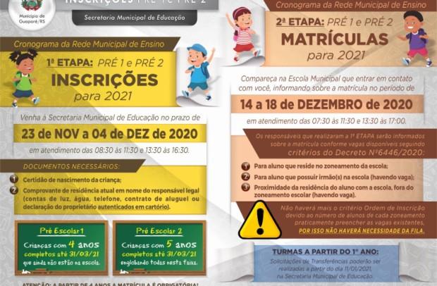 Foto de capa da notícia: Secretaria de Educação abre inscrições para Pré 1 e Pré 2 e realiza rematrícula nas escolas em Guaporé