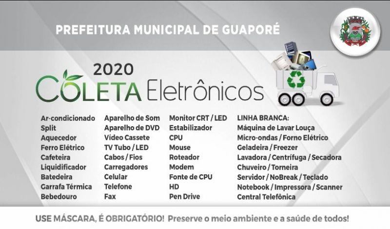 """Foto de capa da notícia: Poder Público de Guaporé realizará a 4ª etapa da """"Coleta de Eletrônicos"""""""