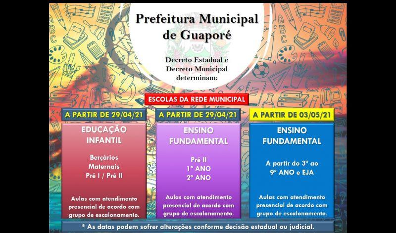Foto de capa da notícia: Em bandeira vermelha, Governo Municipal garante retorno das aulas presenciais em Guaporé