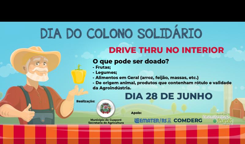 Foto de capa da notícia: Dia do Colono Solidário: Ação solidária pioneira irá recolher doações em alimentos no interior de Guaporé