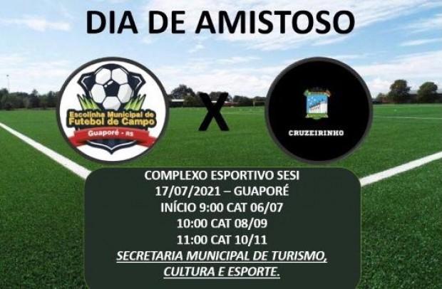 Foto de capa da notícia: Escolinha Municipal de Guaporé jogará partidas amistosas contra o Cruzeirinho