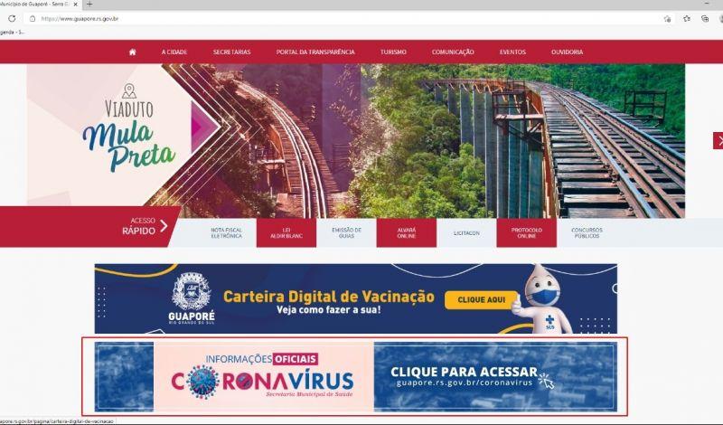 Foto de capa da notícia: Portal do Poder Público de Guaporé recebe nota 8 na transparência da vacinação Covid-19